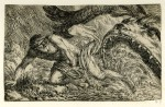 Etching of Jonah spat out by the whale, c. 1645-1700: print made by Jonas Umbach.