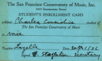 Charles Ray Considine's enrollment card for the San Francisco Conservatory of Music.