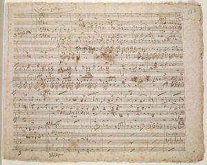 One of Donizetti's composing manuscripts for Il diluvio universale. Photo courtesy of the British Library.