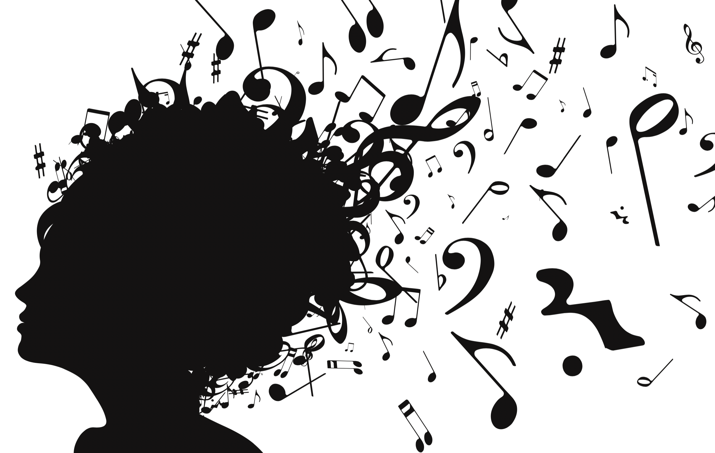 A decorative image of musical notes flying out of an up-do of hair.